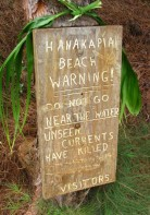Hanakapi'ai Beach Warning Sign