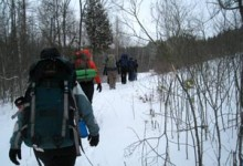 Backpackers in Winter